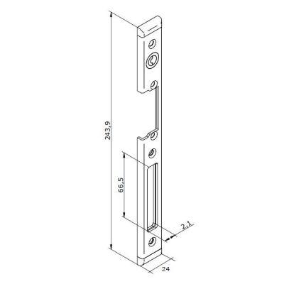 22-INOX-3P Lišta otvírače pro PRAVÉ plastové dveře
