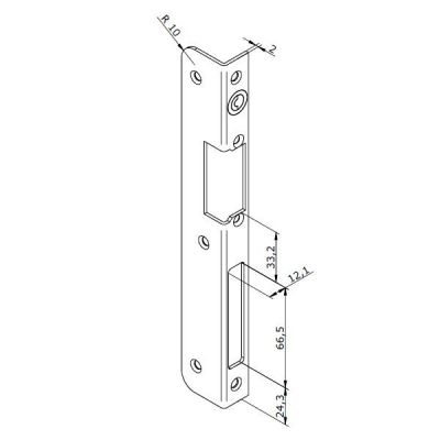 24-INOX-3P Lišta otvírače pro PRAVÉ dveře