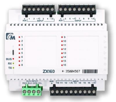 APR-ZX-16D Rozšiřující modul 16 smyček na DIN lištu pro ústředny EVO