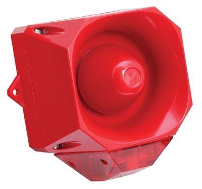 AS/M/SB/9-60V/R/RL Červená průmyslová siréna s červeným majákem