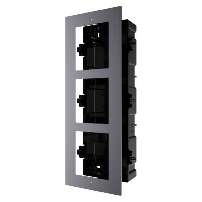 DS-KD-ACF3(Plastic) Rámeček pro interkom, 3 moduly, zapuštěný, hliník
