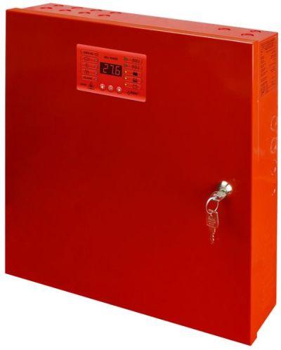 EN54-3A17 Zdroj 27V v krytu s prostorem pro 2 AKU 17Ah, proud 2A, výstupy, LED displej