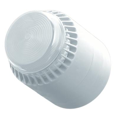 FL/CL/W/S 12V Bílá plastová siréna s čirým LED majákem, vysoká, 12V