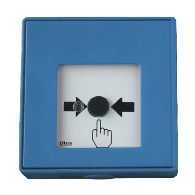 MHA-903-B Tlačítkový hlásič bez aretace, spínací s LED signalizací - modrý