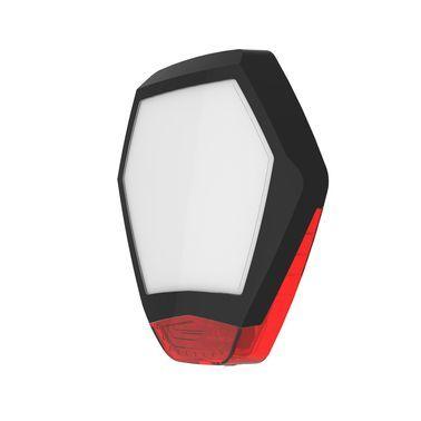 ODYSSEY-X3-BL/R Černý šestihranný kryt sirény s červeným blikačem