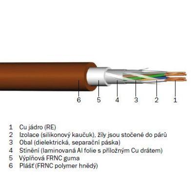 PFG-5x2x0.8/500 Hnědý stíněný ohniodolný kabel 10x0.8 pro EPS, balení 500m