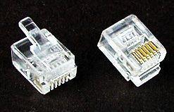 RJ-10 6/2 Telefonní konektor MODULAR, 6/2 piny, šíře 9.65 mm