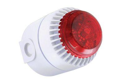 ROLPSB/RL/W/D Bílá plastová siréna s červeným LED majákem, vysoká