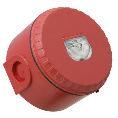 SOL-LX-W/RF/R1/D Červený plastový LED maják, vysoký na stěnu, EN54-23